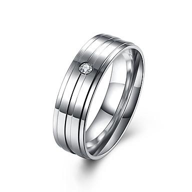 Herrn Ring Schmuck Simple Style Luxus-Schmuck Edelstahl Diamantimitate Schmuck Für Normal