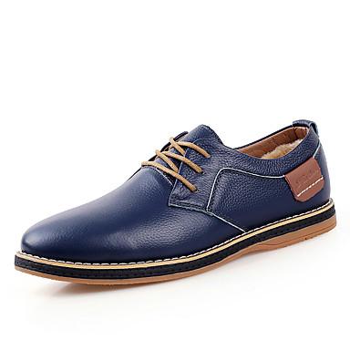 Oxford-kengät-Tasapohja-Miesten-Nahka-Musta Sininen Ruskea-Rento-Comfort