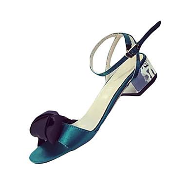 Naiset Sandaalit Comfort Silkki Kesä Kausaliteetti Kävely Comfort Ruseteilla Soljilla Matala korko Harmaa Vihreä Pinkki 1-1,75in
