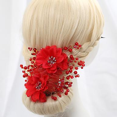 kristály gyöngyszemű szatén virágok fejdísz klasszikus női stílusban