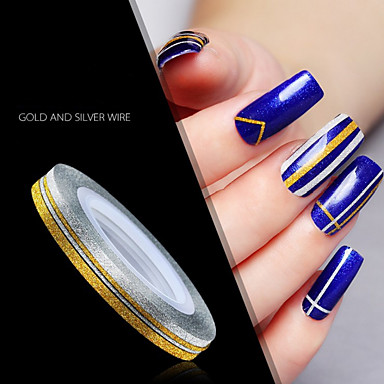 1 pcs Cinta de tela metálica arte de uñas Manicura pedicura Diario Glitters / Reluciente / Moda / Cinta adhesiva