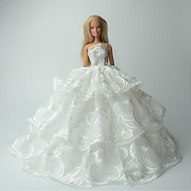 Casamento Vestidos Para Boneca Barbie Renda Organza Vestido Para Menina de Boneca de Brinquedo