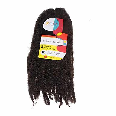 Forhæklede fletninger 1pc / pakke Hårkrøller Hæklede fletninger 45cm Syntetisk Mellembrun Fletning af hår Hår Ekstensions