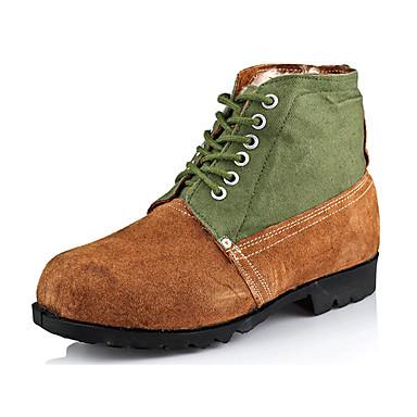 Masculino Sapatos Camurça Inverno Conforto Botas Rasteiro Com Cadarço Para Casual Marron