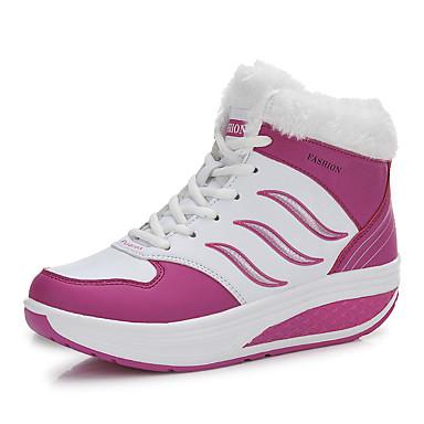 Bootsit-Tasapohja-Naisten-PU-Musta Sininen Punainen-Rento-Comfort
