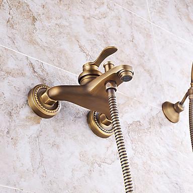 Grifo de ducha - Clásico / Arte Decorativa / Retro / Modern Cobre Envejecido Colocado en la Pared Válvula Cerámica / Latón