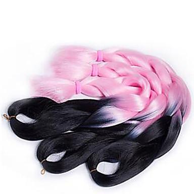 Jumbo box Vlechten Kanekalon Geel Zwart / Strawberry Blonde Zwart / Medium Auburn Zwart / Bourgondië Zwart / grijs Haarextensions 24