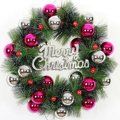 ホームパーティーの直径のためのクリスマスの花輪3色の松葉クリスマスデコレーション36センチメートルNAVIDAD新年用品