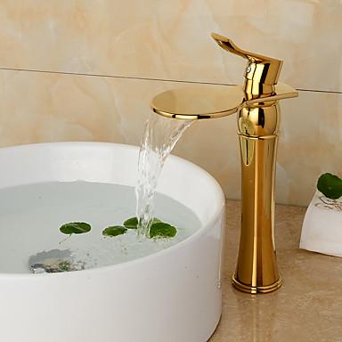 Kylpyhuone Sink hana - Esihuuhtelusuihku Vesiputous Laajallle ulottuva Ruusukulta Integroitu Yksi kahva kaksi reikää