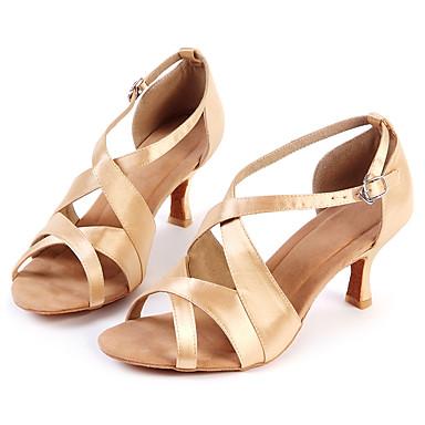 Zapatos de baile(Oro) -Latino-Personalizables-Tacón Bajo