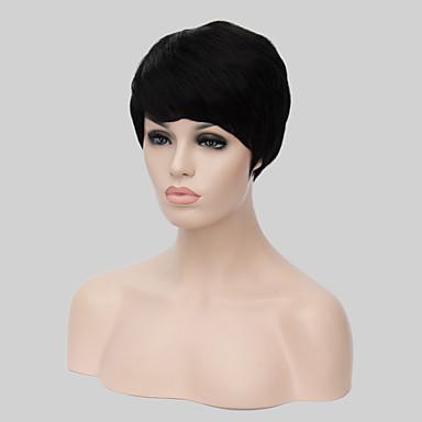 Pelucas sintéticas Recto Corte asimétrico Pelo sintético Entradas Naturales Negro Peluca Mujer Corta Sin Tapa