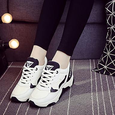 Feminino-Tênis-Conforto-Rasteiro-Branco Preto Azul-Tule-Para Esporte
