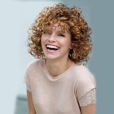Syntetiske parykker Krøllet Afro tetthet Dame Blond Karneval Parykk Halloween parykk Naturlig parykk Kort Syntetisk hår