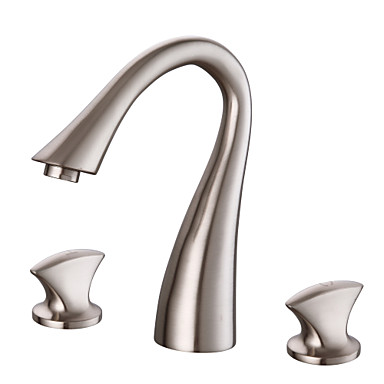 Håndvasken vandhane - Sensor Nikkel Børstet Basin To Håndtag tre hullerBath Taps