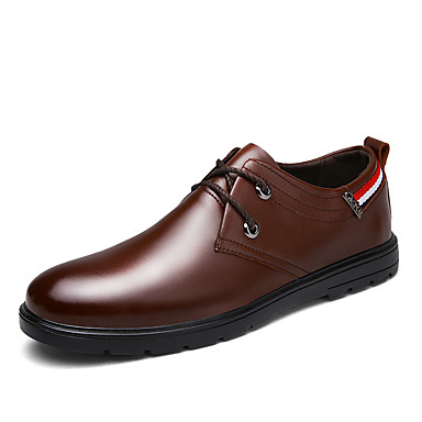 メンズ 靴 レザーレット 春 夏 秋 冬 コンフォートシューズ オックスフォードシューズ 編み上げ 用途 カジュアル ブラック Brown