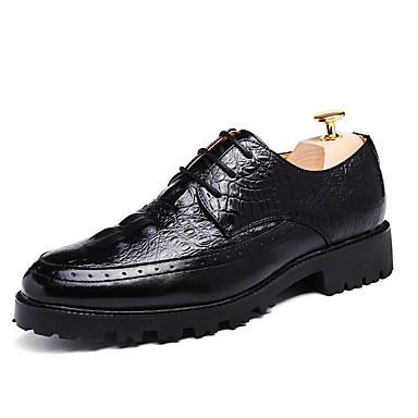 Miehet kengät Tekonahka Kevät Kesä Syksy Talvi Comfort Oxford-kengät Käyttötarkoitus Häät Juhlat Musta Ruskea Punainen