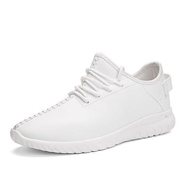 Damen Schuhe Mikrofaser Frühling Herbst Komfort Sneakers Walking Flacher Absatz Runde Zehe Schnürsenkel für Normal Weiß Schwarz Rot