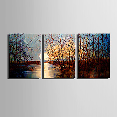 E-HOME® Stretched Canvas Art Sunset Swamp Decoration Painting Set of 3