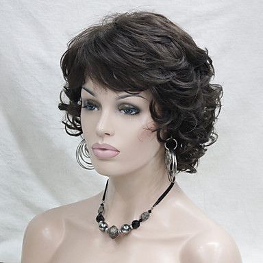 Buy Wavy Curly Chestnut Brown 6# Short Synthetic Hair Full Women's Wig Everyday