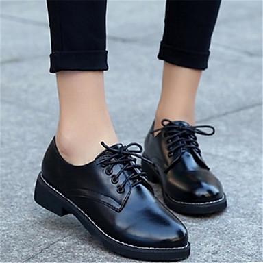 Naiset Oxford-kengät PU Kausaliteetti Musta Punainen Tasapohja