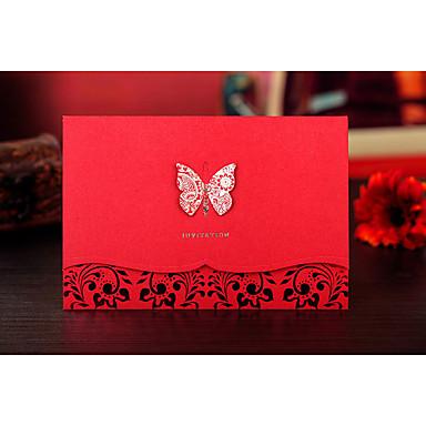 トップ折り 結婚式の招待状 招待状カード 新郎新婦模様 エンボス紙 リボン