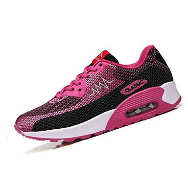 Feminino-Tênis-Conforto-Rasteiro-Verde Vermelho-Tule-Casual Para Esporte