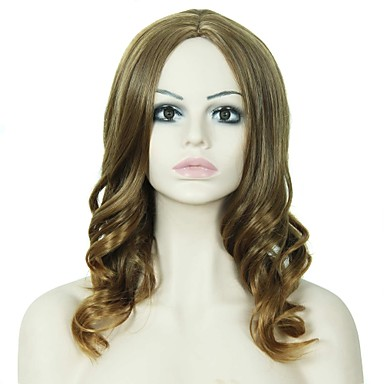 女性 人工毛ウィッグ キャップレス ウェーブ ストロベリーブロンド ナチュラルウィッグ コスチュームウィッグ