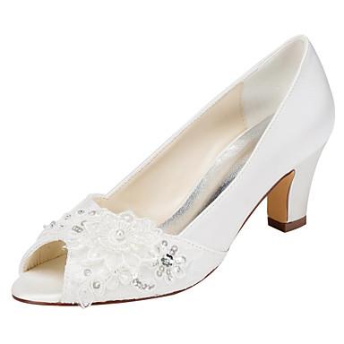 Dame Sko Strekksateng Vår Høye hæler Tykk hæl Titte Tå Krystall Perle til Bryllup Fest / aften Formell Hvit Krystall