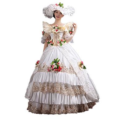 Viktoriaaninen Rokokoo Asu Naisten Mekot Naamiaisasu Juhla-asu Vintage Cosplay Pitsi Puuvilla Kokopitkä Pitkä Pituus