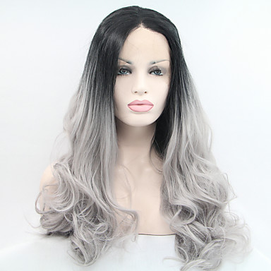 Syntetisk blonder foran parykker Naturlige bølger Syntetisk hår Svart Parykk Dame Naturlig parykk Blonde Forside