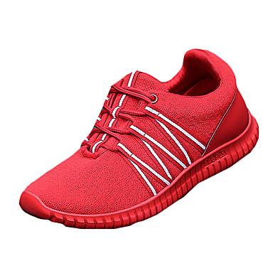 男性用 靴 繊維 春 秋 コンフォートシューズ アスレチック・シューズ ウォーキング 編み上げ のために カジュアル ブラック レッド