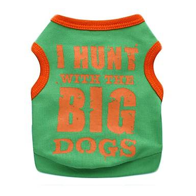 Gato Perro Camiseta Ropa para Perro Letra y Número Negro Naranja Amarillo Verde Algodón Disfraz Para mascotas Hombre Mujer Bonito