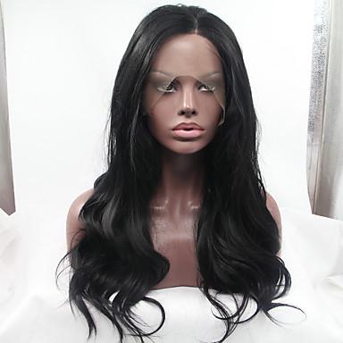 Syntetisk Lace Front Parykker Naturligt, bølget hår Syntetisk hår Varme resistent / limfri Sort Paryk Dame Blonde Front Sort