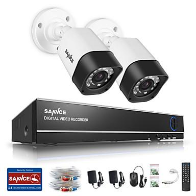 Sannce® 1.0mp 720 p 4ch hd 4 em1 tvi h.264 dvr em / sistema de câmera de segurança cctv ao ar livre