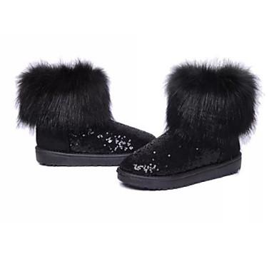 Dame Sko Tekstil Vinter Komfort / Snøstøvler / Trendy støvler Støvler Flat hæl Rund Tå Svart / Sølv / Blå