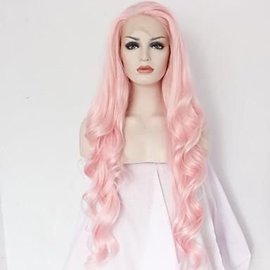 Peluca Lace Front Sintéticas Mujer Ondulado Grande Rosa Pelo sintético Entradas Naturales / Raya en medio Rosa Peluca Larga Encaje Frontal Rosa / Sí