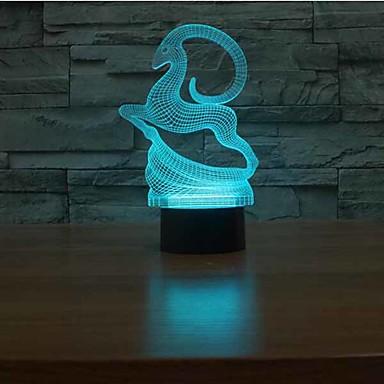 hjort berøring dimming 3d led natt lys 7colorful dekorasjon atmosfære lampe nyhet belysning lys