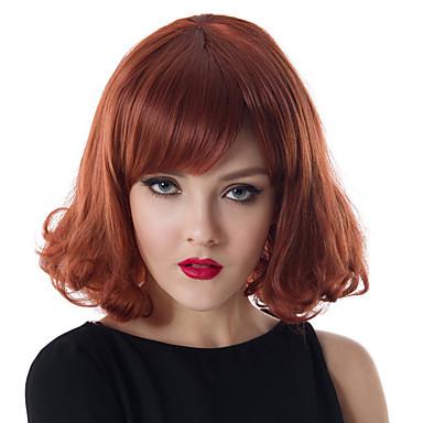 Synteettiset hiukset Peruukit Kihara Suojuksettomat Carnival Peruukki Halloween Peruukki Luonnollinen peruukki Punainen