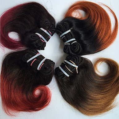 Brasilialainen Runsaat laineet Virgin-hius Ombre 4 pakettia 8 inch Hiukset kutoo Black / Auburn / Musta / Burgundy / Black / Red Hiukset Extensions