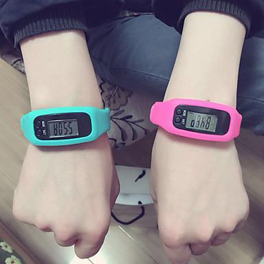 baratos Relógios Homem-Homens Mulheres Relógio Esportivo Digital LED Pedômetros Silicone Banda Digital Casual Preta / Branco / Vermelho - Fúcsia Vermelho Azul / Aço Inoxidável