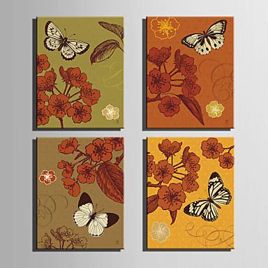 Canvas Set Eläin / Kukkakuvio/Kasvitiede European Style,4 paneeli Kanvas Pystysuora Tulosta Art Wall Decor For Kodinsisustus