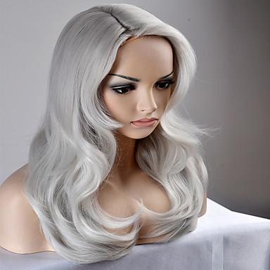 Perucas sintéticas Mulheres Ondulado Natural Cabelo Sintético Peruca Longo / Muito longo Sem Touca Prateado