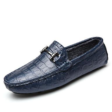 Miehet kengät Tekonahka Kevät Syksy Talvi Comfort Mokkasiinit Käyttötarkoitus Kausaliteetti Musta Ruskea Sininen