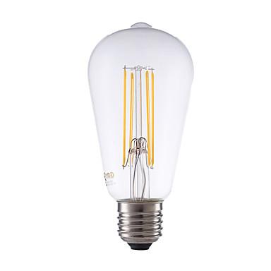GMY® 600 lm E26 / E27 Bombillas de Filamento LED ST64 4 Cuentas LED COB Regulable / Decorativa Blanco Cálido 220-240 V / 1 pieza / Cañas / CE