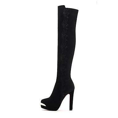 Mulheres Sapatos Sintético Outono / Inverno Gladiador / Botas Cowboy / Country / Botas de Neve Botas Salto Robusto Preto / Festas & Noite