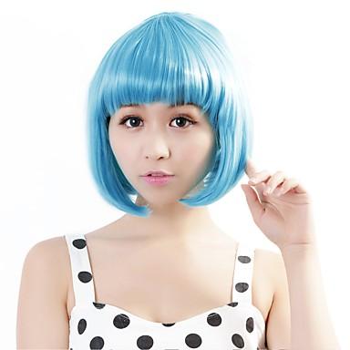 Synthetische Perücken Glatt Bubikopf Synthetische Haare Blau Perücke Damen Kappenlos Hellblau Neitsi