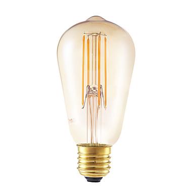 GMY® 1pç 4W 350lm E26 / E27 Lâmpadas de Filamento de LED ST58 4 Contas LED COB Regulável Decorativa Âmbar 220-240V
