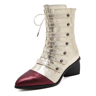 レディース ブーツ ファッションブーツ 冬 レザーレット ドレスシューズ チャンキーヒール ゴールド ブラック 2~2 3/4インチ