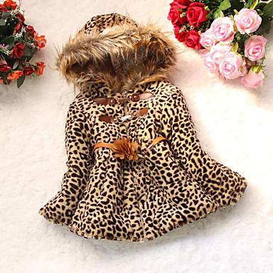 Copil Fete Print Animal Leopard Manșon Lung Bumbac Căptușit Bumbac