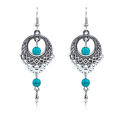 cheap Earrings-Women's Turquoise Drop Earrings Hanging Earrings Hollow Out Cheap Ladies Vintage Bohemian Boho western style Elizabeth Locke Earrings Jewelry Silver For Wedding Party Daily Casual